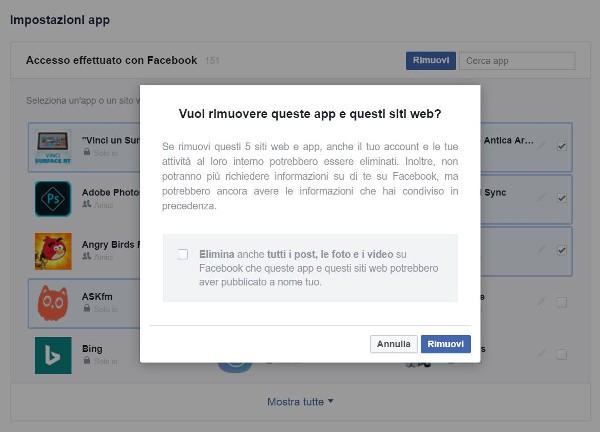 Facebook facilita la rimozione delle app