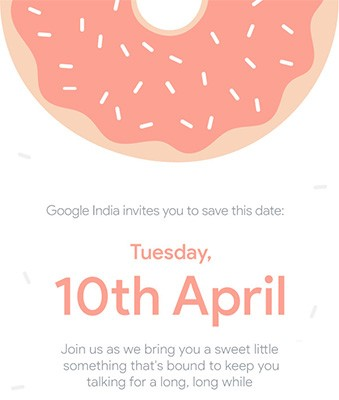 L'invito distribuito da Google alla stampa per l'evento in India del 10 aprile