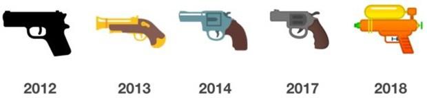 L'emoji della pistola inclusa da Google nel sistema operativo Android: l'evoluzione del design dal 2013 al 2018