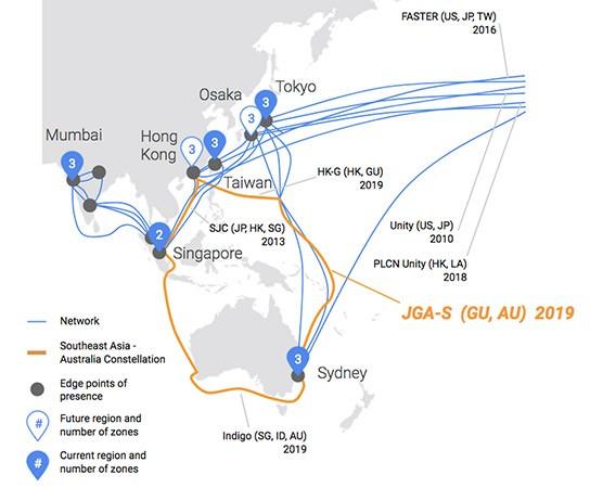 Il percorso del cavo sottomarino posato da Google