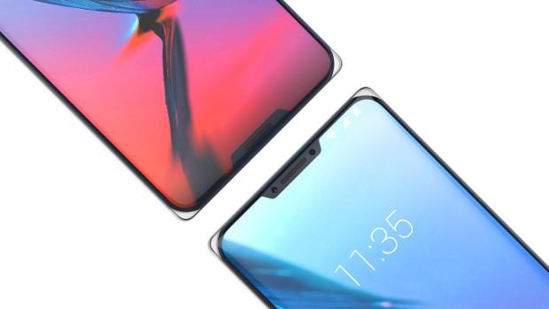 La parte frontale del concept phone ZTE Iceberg, con due notch e angoli in vetro.