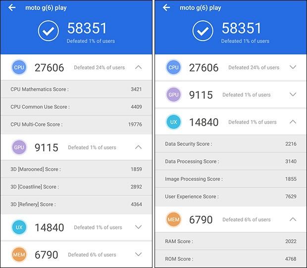 Motorola Moto G6 Play: i risultati del benchmark AnTuTu