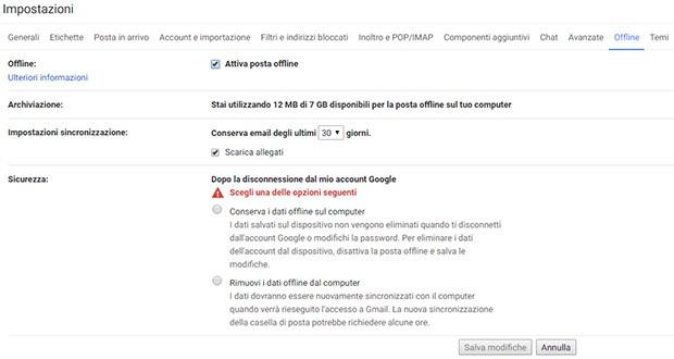 La nuova opzione introdotta da Google nel servizio Gmail che permette di consultare la casella di posta elettronica in modalità offline