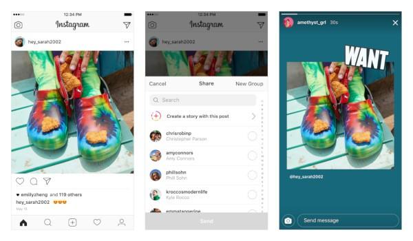Instagram, condivisione dei post nelle Storie