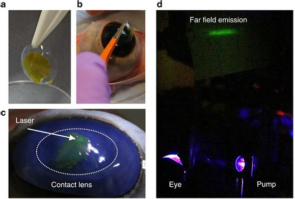 """Il layer sviluppato dalla University of St Andrews che aggiunto a una lente a contatto dona all'occhio una sorta di """"vista laser"""""""