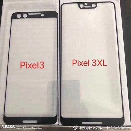 Le protezioni dello schermo che sembrano anticipare le dimensioni e il design anteriore degli smartphone Pixel 3 e Pixel 3 XL di Google