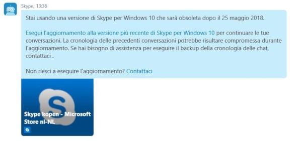 Skype, dismesse le vecchie versioni di Windows 10?