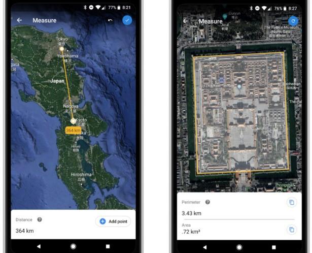 La misurazione di distanze e aree attraverso l'applicazione di Google Earth su smarphone Android