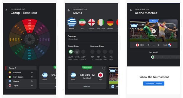 Il World Cup Tracker dell'applicazione Google News