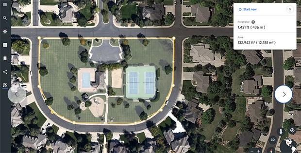La misurazione di un qualsiasi perimetro attraverso l'interfaccia Web della piattaforma Google Earth, all'interno del browser Chrome