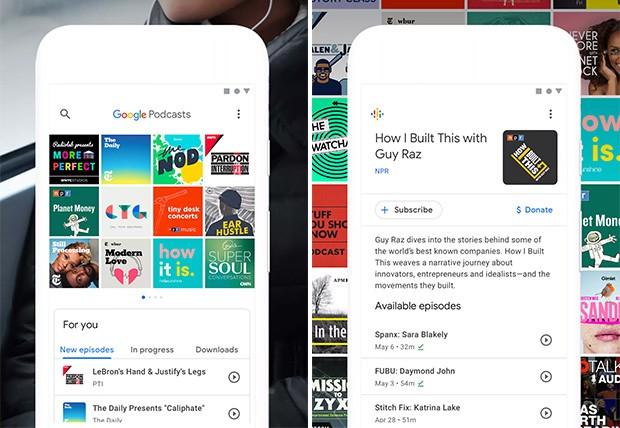 Screenshot per l'interfaccia dell'applicazione Google Podcasts