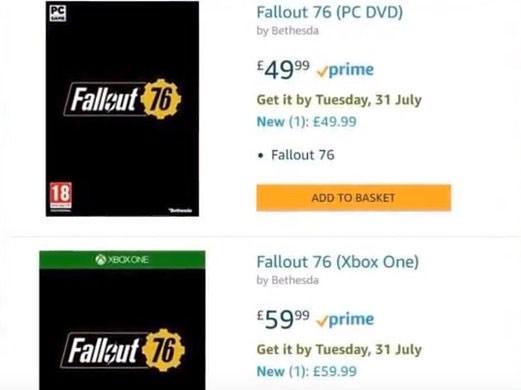 L'uscita di Fallout 76 indicata per il 31 luglio 2018 da Amazon, per un breve periodo di tempo: al momento la scheda riporta il 31 dicembre 2019