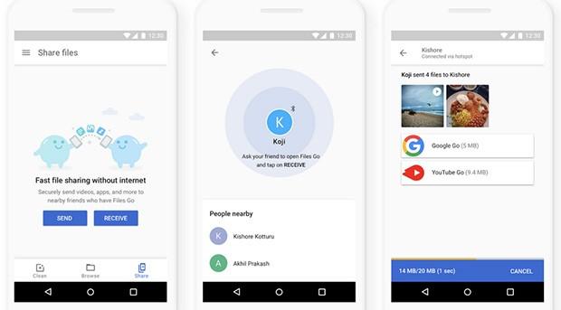 La condivisione offline dei contenuti con l'applicazione Files Go di Google è stata resa più rapida