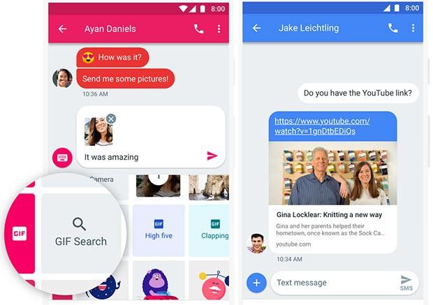 Il motore di ricerca per le GIF (a sinistra) e l'anteprima dei link scambiati all'interno della conversazione (a destra)