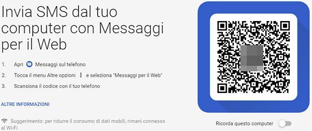 Il client Web di Messaggi richiede la scansione di un codice QR per sincronizzare computer e smartphone