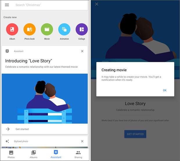 L'applicazione Google Foto permette ora di creare un contenuto Love Story, partendo da una raccolta di immagini e e video, completamente personalizzabile