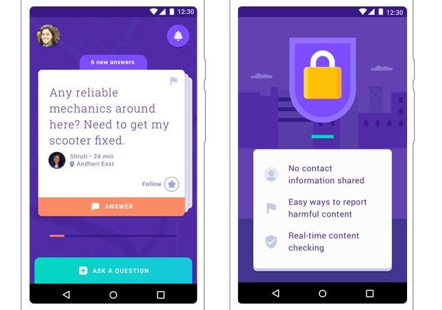 Screenshot per l'applicazione Neighbourly di Google, lanciata in India al momento come esclusiva Android e solo nella città di Mumbai