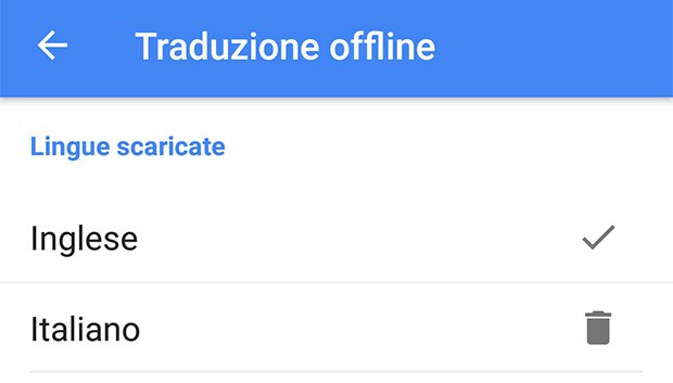 Tra le impostazioni di Google Traduttore è possibile selezionare i pacchetti relativi alle varie lingue per effettuare le traduzioni in modalità offline