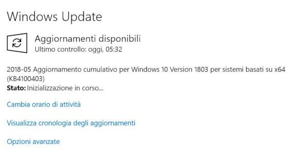 Microsoft aggiorna Windows 10 Aprile 2018 Update