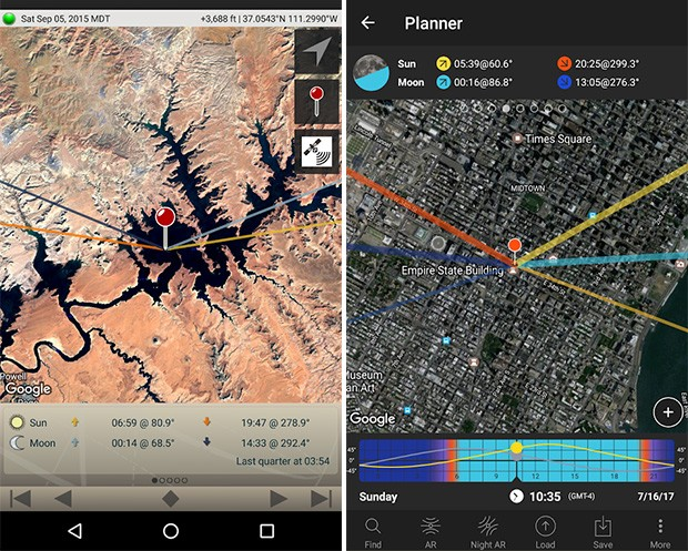 Screenshot per le applicazioni Photographer's Ephemeris e Photopills