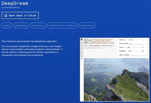 DeepDream è uno degli esempi forniti, legato alla categoria Images & Video