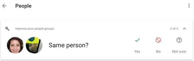 La versione Web della piattaforma Google Foto ha iniziato a chiedere agli utenti se i volti identificati all'interno delle stesse immagini appartengono alla stessa persona