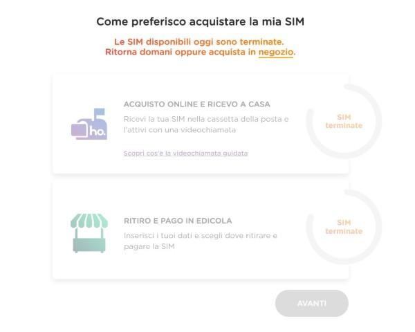 Ho. Mobile limita le SIM prenotabili online