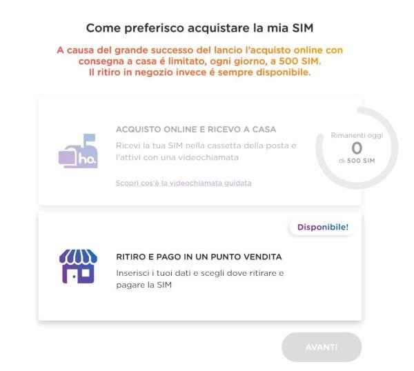 Ho. Mobile, SIM nuovamente disponibili online
