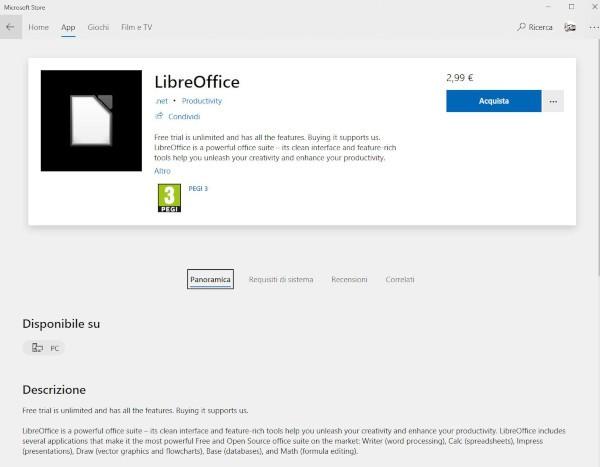 LibreOffice sbarca nel Microsoft Store