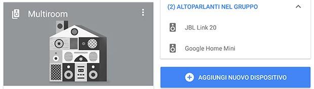JBL Link 20 può essere inserito in una configurazione multiroom con qualsiasi altro dispositivo compatibile con la tecnologia Cast