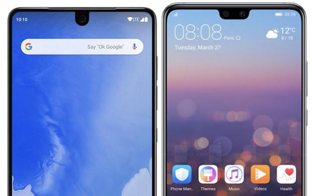 Due differenti tipologie di notch implementate sui propri smartphone da altrettanti produttori Android