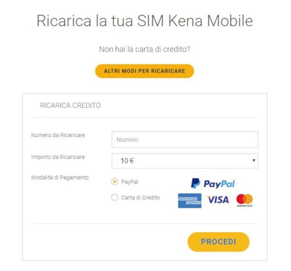 Ricarica Kena Mobile