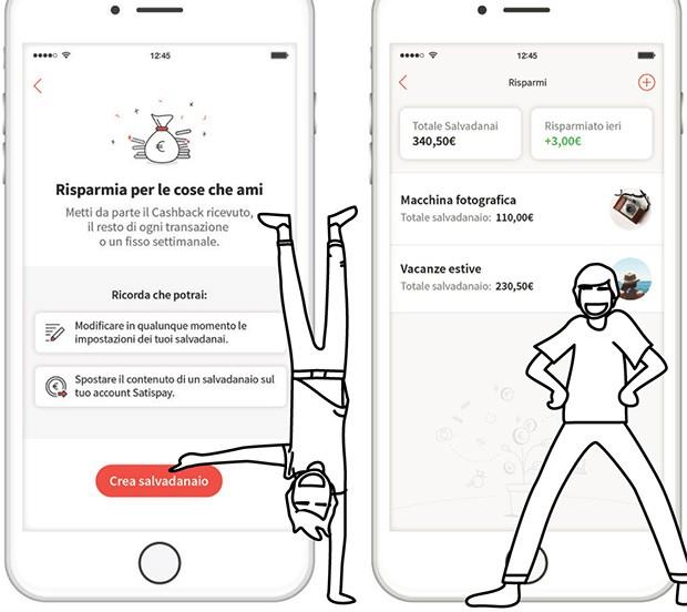 La nuova funzionalità Risparmia che sta per essere integrata nell'applicazione di Satispay