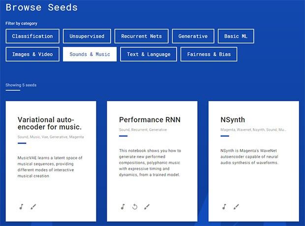 Alcuni degli esempi ospitati dalla piattaforma