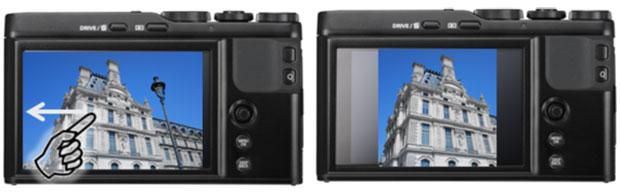 Con una semplice gesture sul display touchscreen della Fujifilm XF10 è possibile attivare la modalità SQUARE