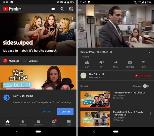 Il tema scuro per l'interfaccia di YouTube raggiunge i dispositivi Android
