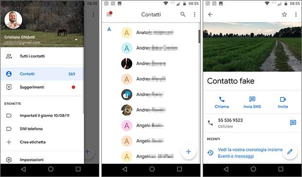 La nuova interfaccia dell'applicazione Contatti, aggiornata da Google su dispositivi Android con l'introduzione di un tema dominato dal colore bianco