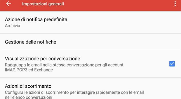 L'impostazione per attivare o disattivare la visualizzazione dei messaggi all'interno di conversazioni è stata introdotta da Google anche nell'app mobile di Gmail