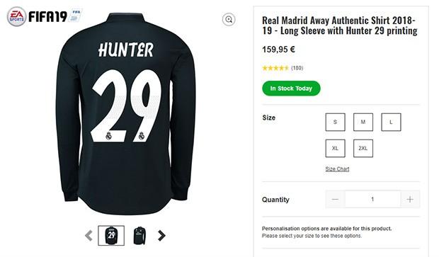 La maglia numero 29 dei blancos indossata in FIFA 19 da Alex Hunter è in vendita sullo store ufficiale della squadra spagnola