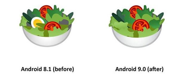 Le uova spariscono dall'emoji dell'insalata, così l'immagine diventa vegan-friendly