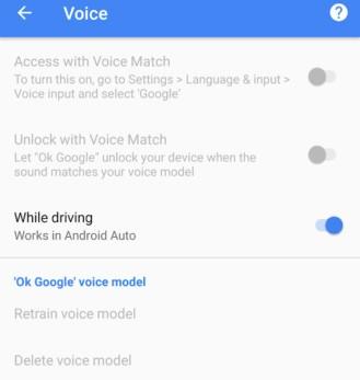 Uno screenshot mostra l'impossibilità di agire sulle impostazioni relative al riconoscimento vocale dell'Assistente Google