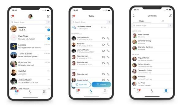 Skype, nuova interfaccia mobile