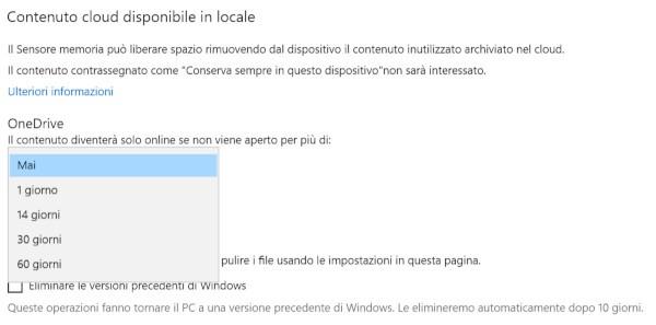 OneDrive rimuove i file offline inutilizzati
