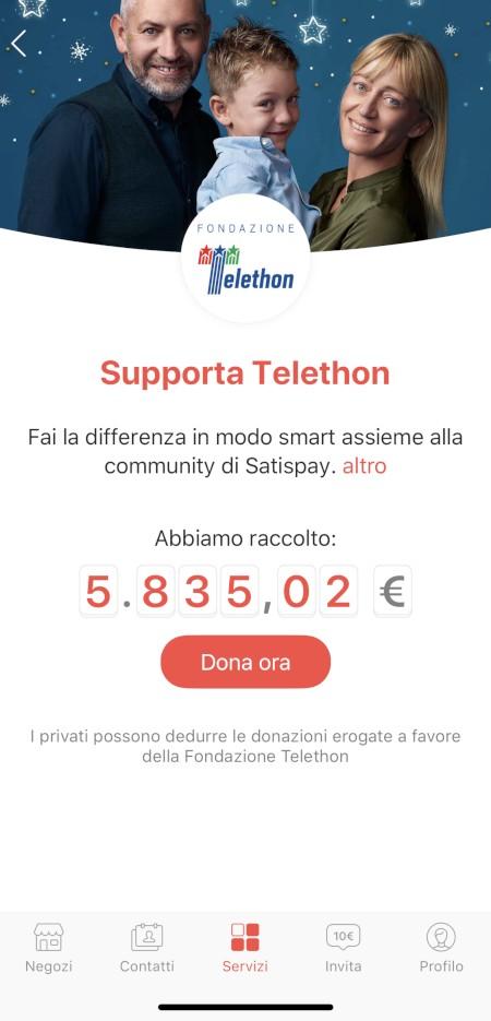 Satispay lancia Donazioni con Telethon