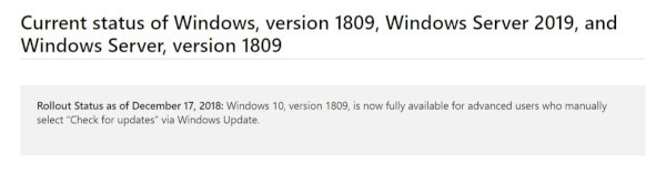Windows 10 1809 disponibile per gli advanced user