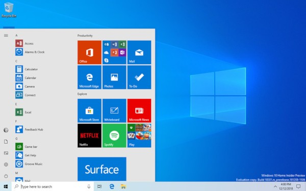 windows 10, menu start semplificato