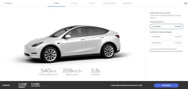 Tesla Model Y, apre il configuratore in Italia