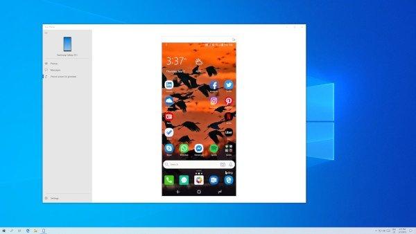 Windows 10 19H1, mirroring degli smartphone Android