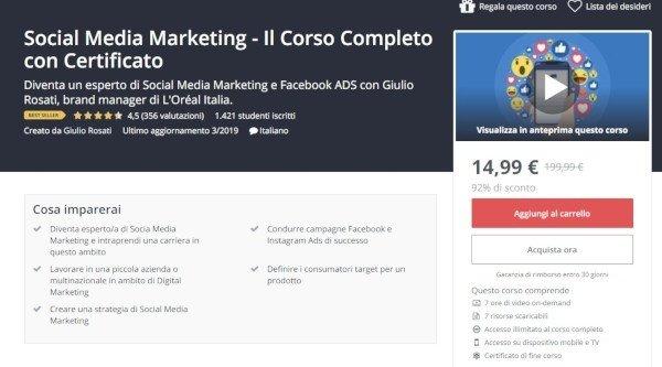 Social Media Marketing, il corso di Udemy