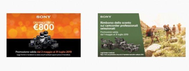 Sony: cashback su fotocamere, ottiche e camcorder